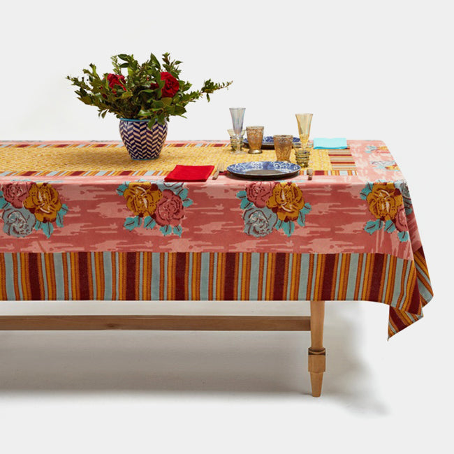 Paradise Garden Old Pink Tablecloth