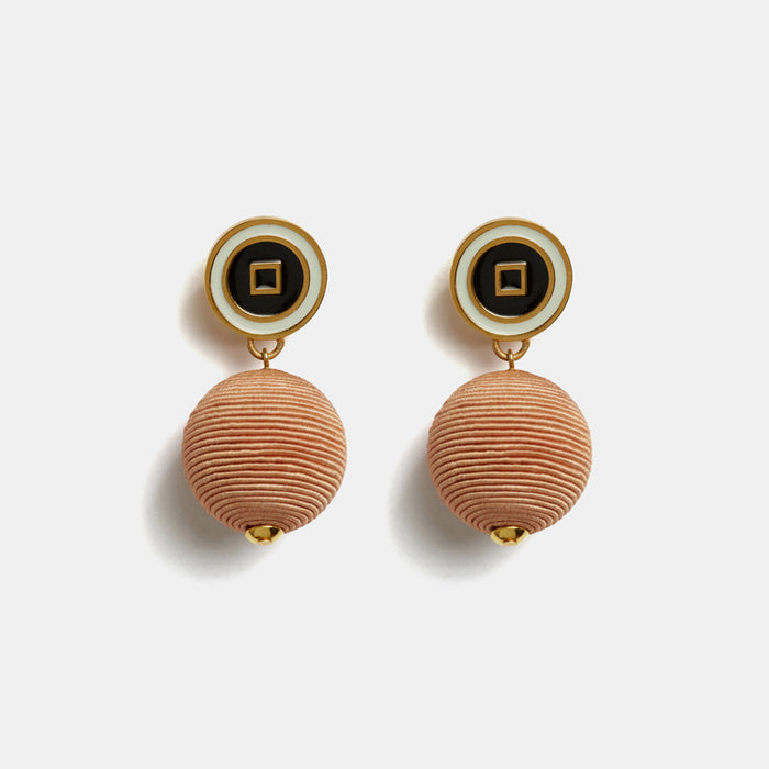 Lizzie Fortunato Corte Drop Earrings in Peach with cord and enamel are great earrings for chic costume statement jewelry - Collyer's Mansion