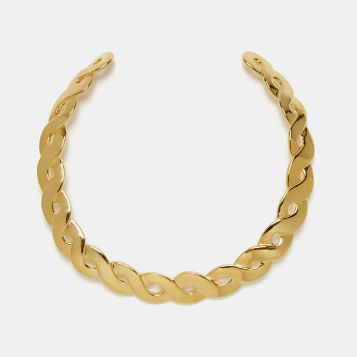 Lizzie Fortunato Gold Braid Collar Necklace in gold plated brass is a great for chic costume statement jewelry - Collyer's Mansion