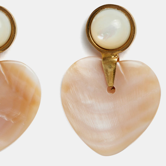 Lizzie Fortunato Heart and Soul Drop Earrings with gold plated brass and mother of pearl are great earrings for chic costume statement jewelry - Collyer's Mansion