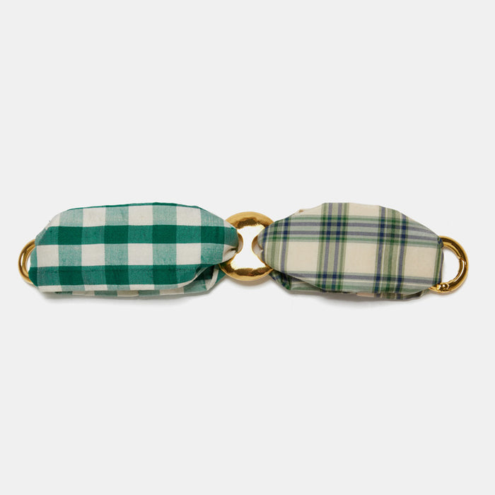 Lizzie Fortunato Jane Bracelet in Green Plaid fabric and gold plated brass is great for chic costume statement jewelry - Collyer's Mansion