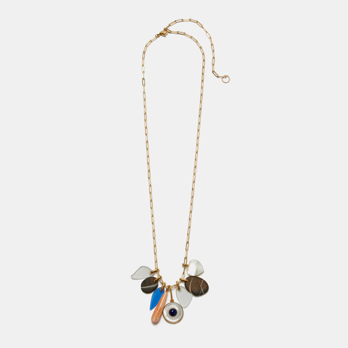 Lizzie Fortunato Mediterranean Charm Necklace in gold plated brass and stones is great for chic costume statement jewelry - Collyer's Mansion