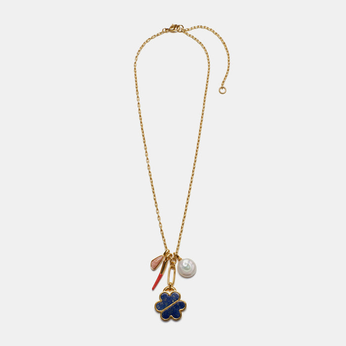Lizzie Fortunato Mariner Charm Necklace in gold plated brass and stones is great for chic costume statement jewelry - Collyer's Mansion