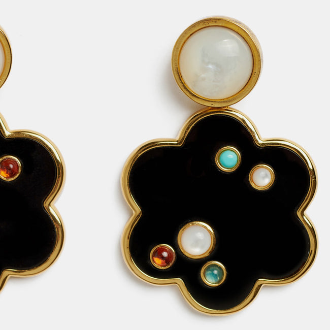 Lizzie Fortunato Poppy Earrings with gold plated brass enamel and pearl are great earrings for chic costume statement jewelry - Collyer's Mansion