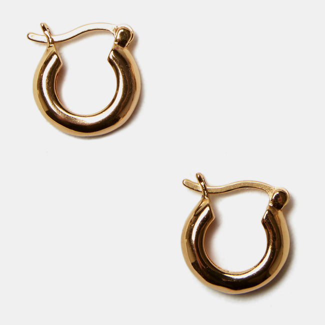 Lizzie Fortunato Small Gold Mood Hoops in gold plated brass are great earrings for chic costume statement jewelry - Collyer's Mansion