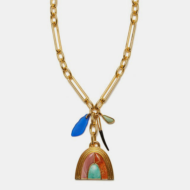 Lizzie Fortunato Statement Necklace for colorful jewelry at Collyer's Mansion Gold