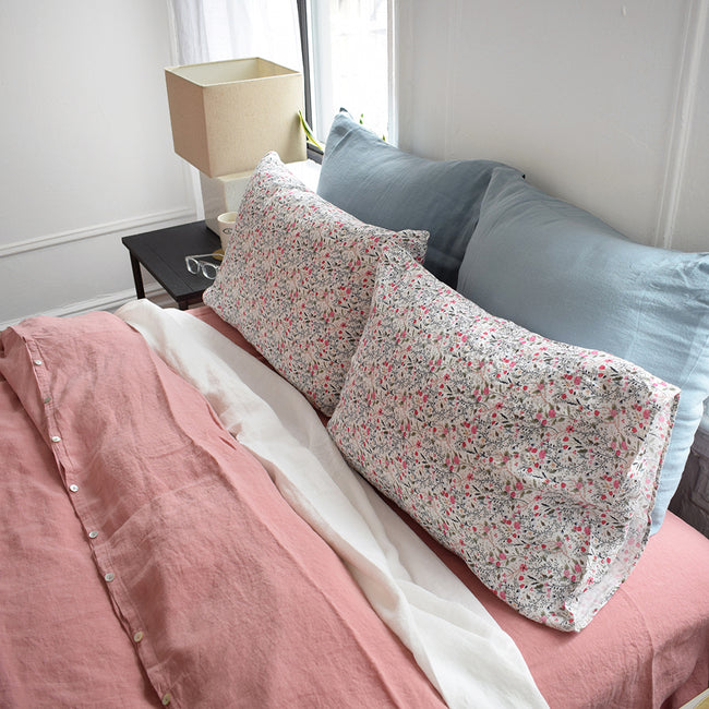 Linge Particulier Pink Flowers Standard Linen Pillowcase Sham with pink linen duvet and pink linen sheet for a colorful linen bedding look in small floral pattern - Collyer's Mansion