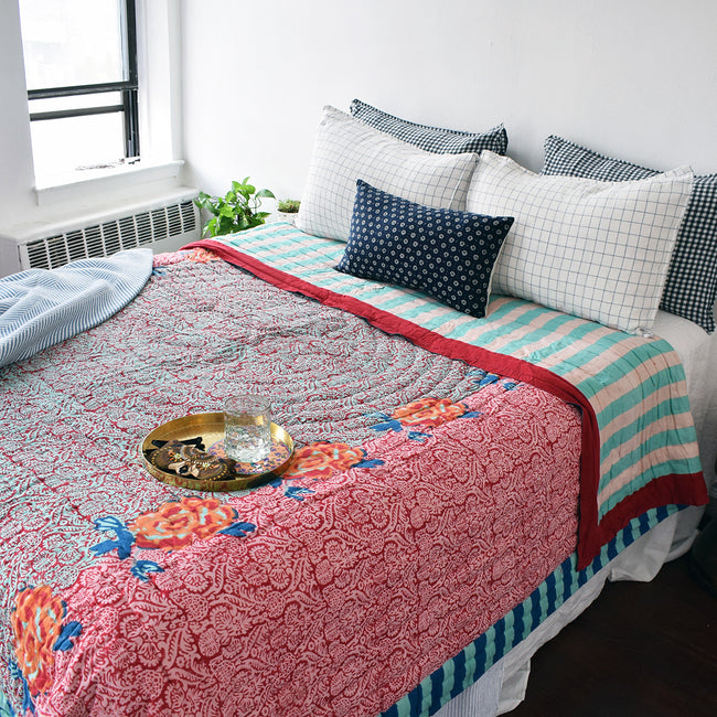 Linge Particulier Navy Check Standard Linen Pillowcase Sham with a Lisa Corti quilt for a colorful linen bedding look in blue check - Collyer's Mansion