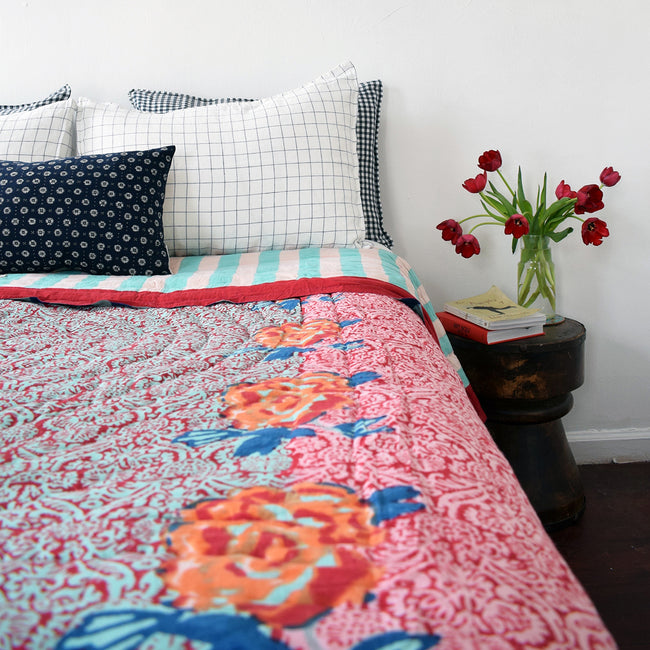 Linge Particulier Anthracite Gingham Standard Linen Pillowcase Sham with a Lisa Corti quilt and navy check shams for a colorful linen bedding look in dark check gingham - Collyer's Mansion