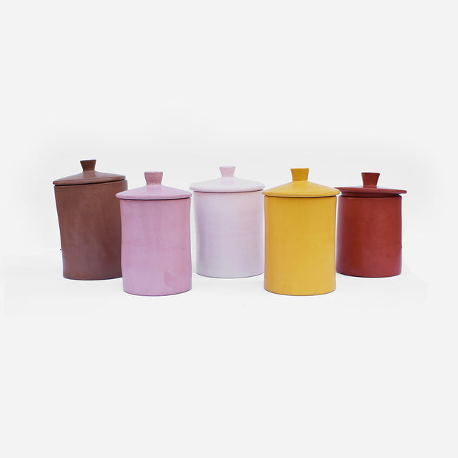 Handmade canister creates a Colorful Home Decor and colorful tablescapes - Collyer's Mansion