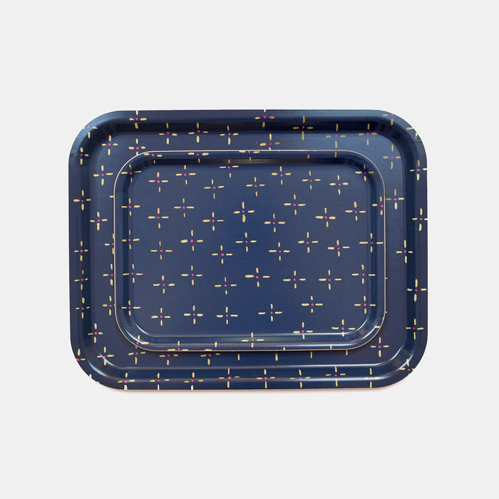 Rectangle designer tray in Scandinavian tray style in navy blue vintage wallpaper print for dining or home decor - Collyer's Mansion
