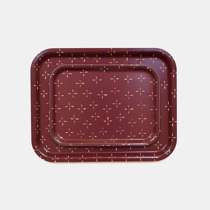 Rectangle designer tray in Scandinavian tray style in maroon burgundy vintage wallpaper print for dining or home decor - Collyer's Mansion