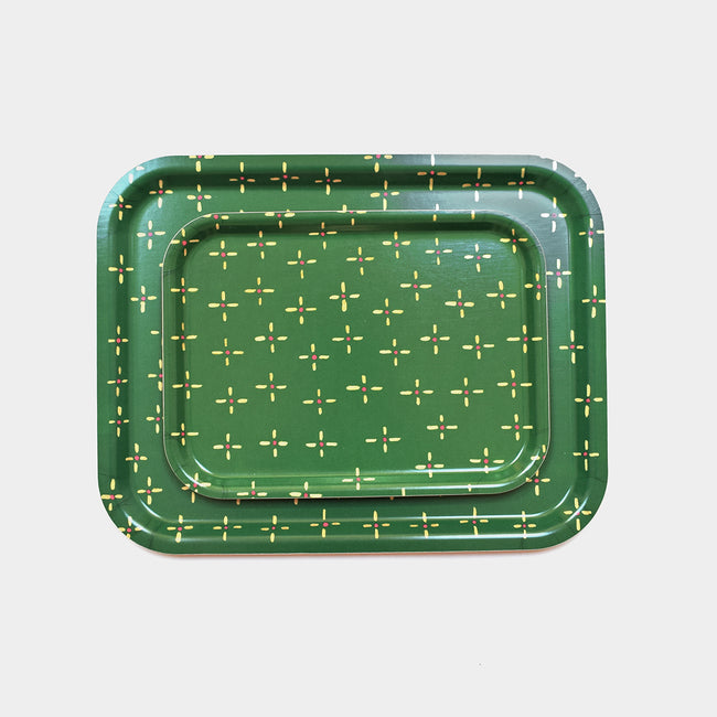 Green Antique Diamond Tray, rectangle