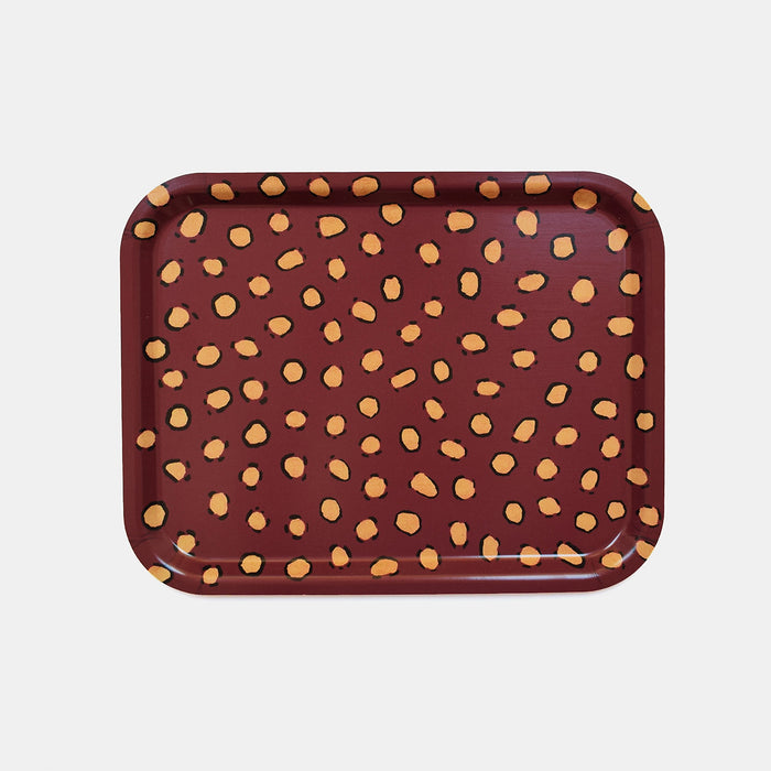 Rectangle designer tray in Scandinavian tray style in maroon red burgundy with animal print for dining or home decor - Collyer's Mansion