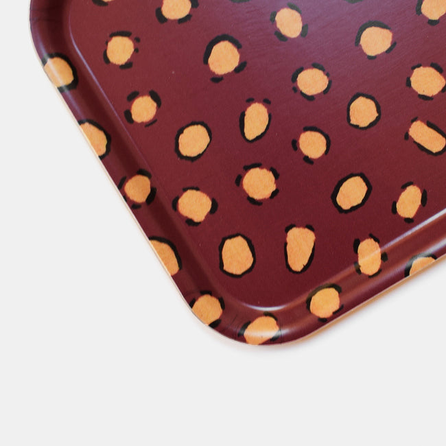 Burgundy Leopard Tray, rectangle