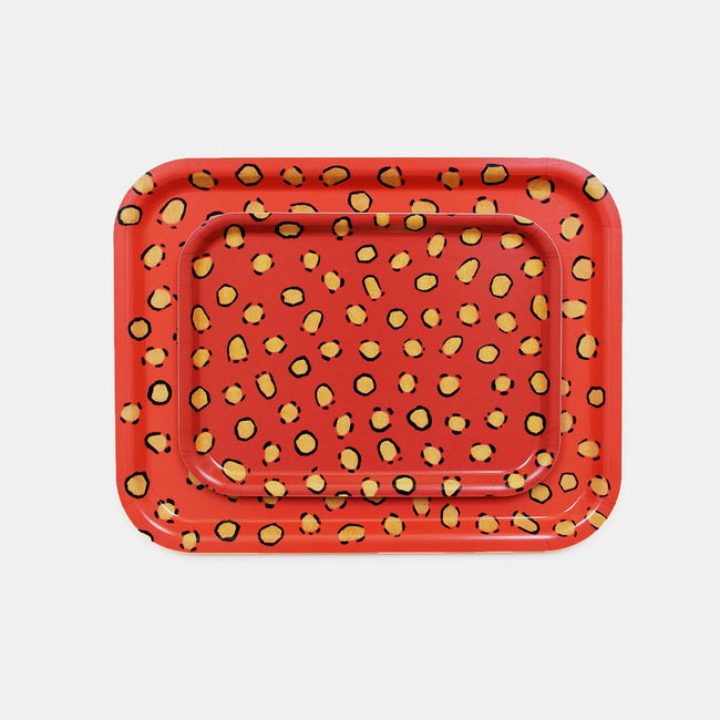 Coral Leopard Tray, rectangle