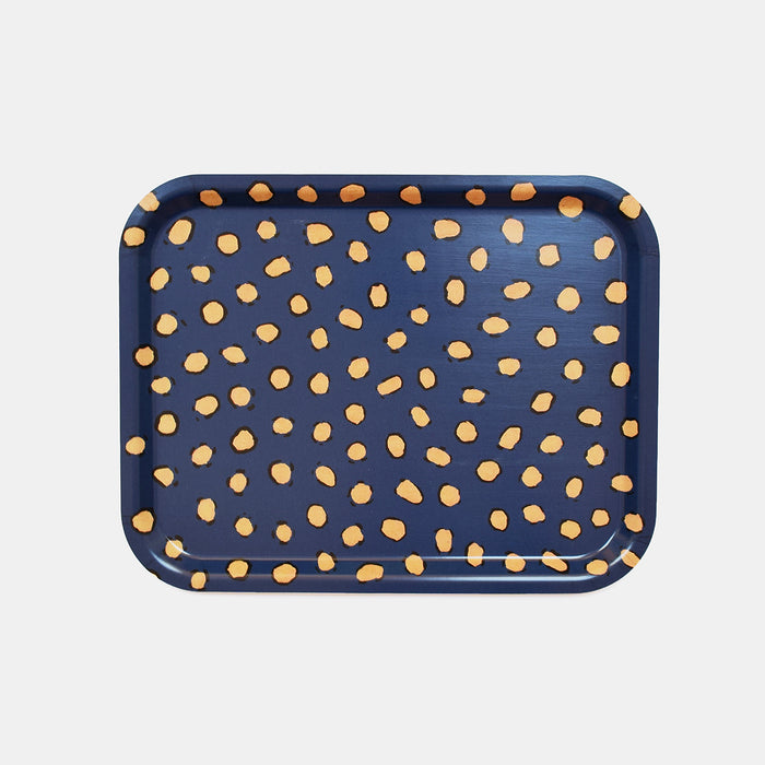 Rectangle designer tray in Scandinavian tray style in dark blue navy with animal print for dining or home decor - Collyer's Mansion