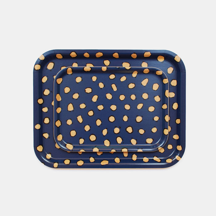 Navy Leopard Tray, rectangle