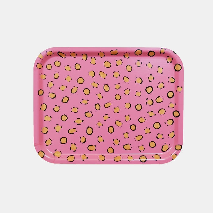 Rectangle designer tray in Scandinavian tray style in nude pink with animal print for dining or home decor - Collyer's Mansion