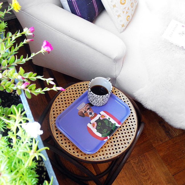 Rectangle designer tray in Scandinavian tray style with a purple background and dog portrait on side table with coffee mug - Collyer's Mansion