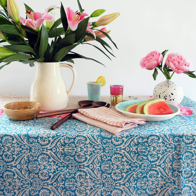 Maharaja Turquoise Tablecloth, Tablecloth, Lisa Corti, Collyer's Mansion - Collyer's Mansion