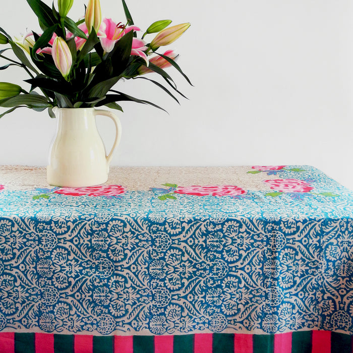 Maharaja Turquoise Tablecloth