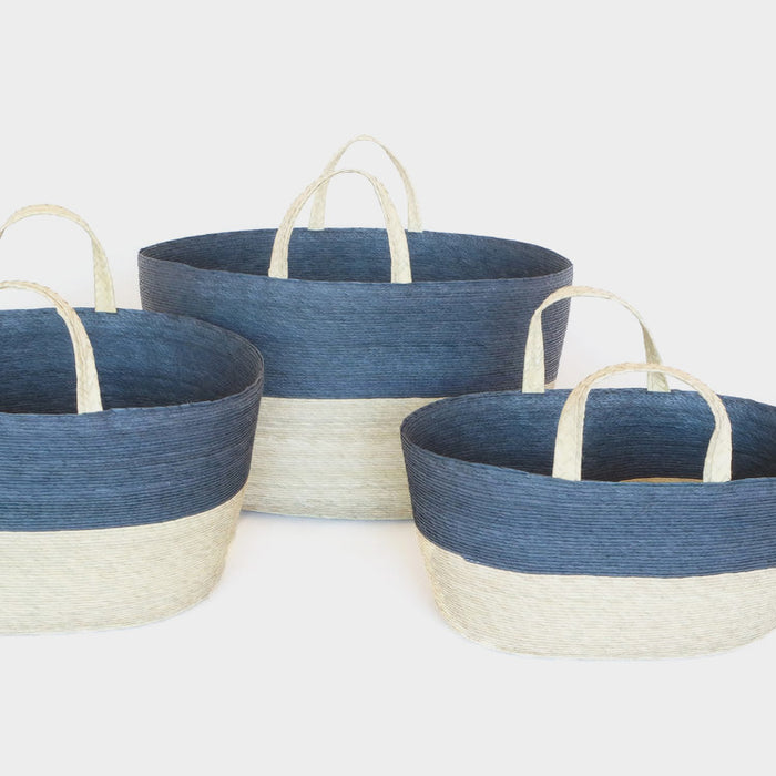 Oval handle floor basket in navy for colorful home decor and storage organization by Makaua at Collyer's Mansion