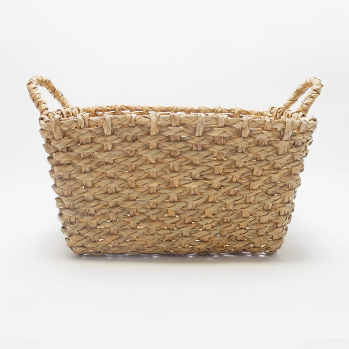 Malu Rectangle Basket in woven seagrass with handles for natural color and boho home decor - Collyer's Mansion