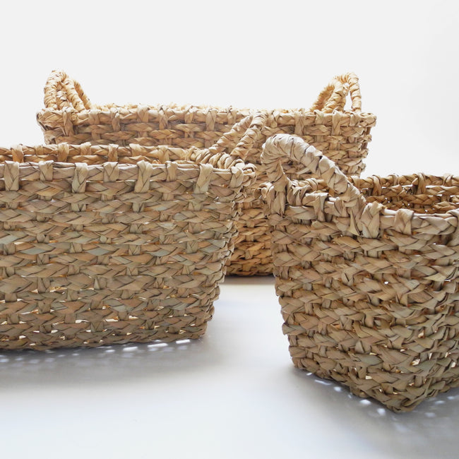 Malu Rectangle Basket in woven seagrass with handles for natural color and boho home decor in five sizes - Collyer's Mansion