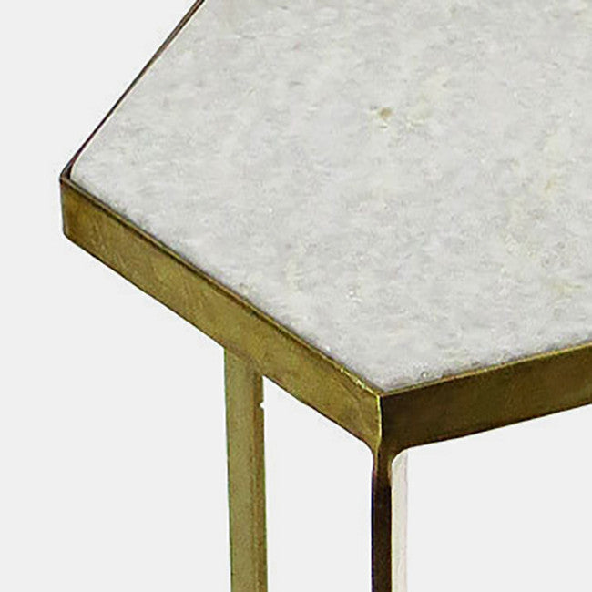 Marble Top Side Table, hexagon