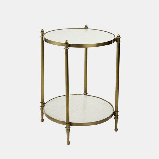 Two-Tiered Marble Top Side Table