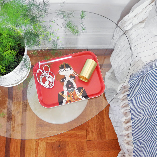 Rectangle designer tray in Scandinavian tray style with a red background and dog portrait on bed side table with plant - Collyer's Mansion