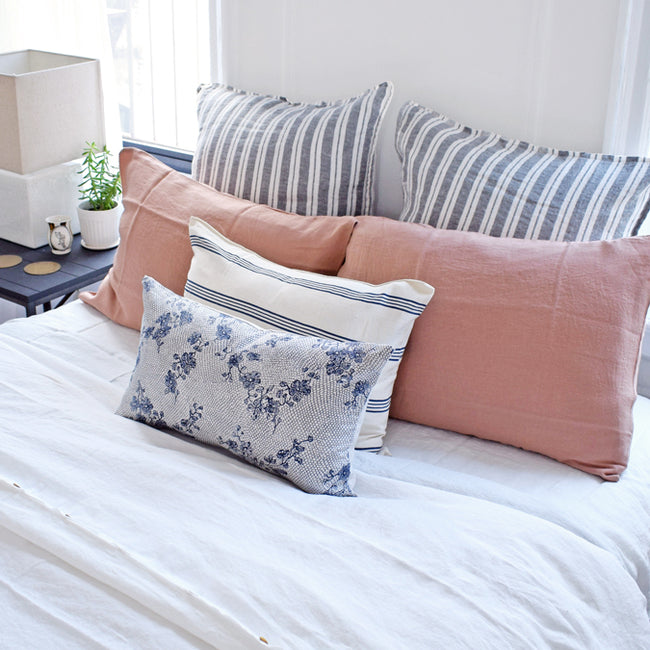 Natural with Blue Stripe Pillow, lumbar