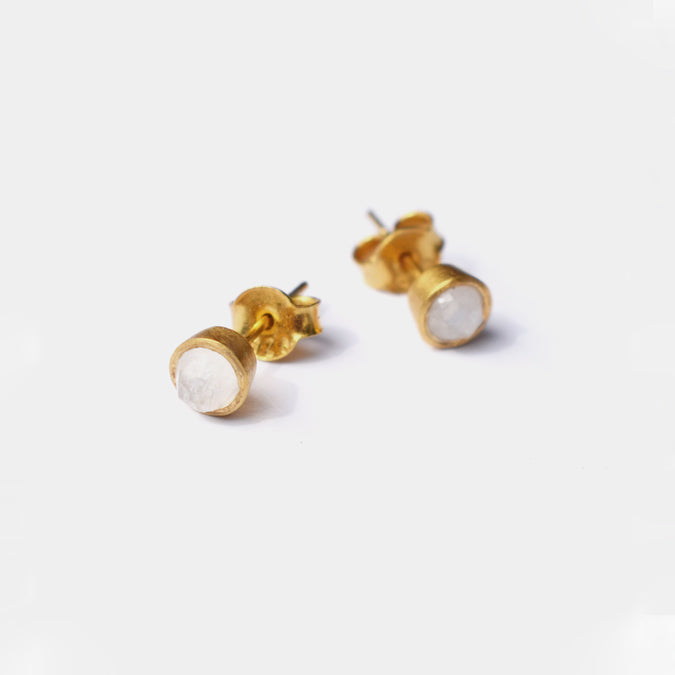 Gem Dot Studs, moonstone
