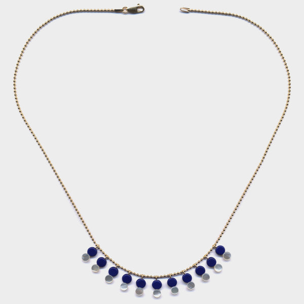 Mini Mother of Pearl and Blue Necklace