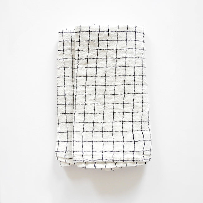 Linen Napkin, black check, Napkin, Linge Particulier, Collyer's Mansion - Collyer's Mansion