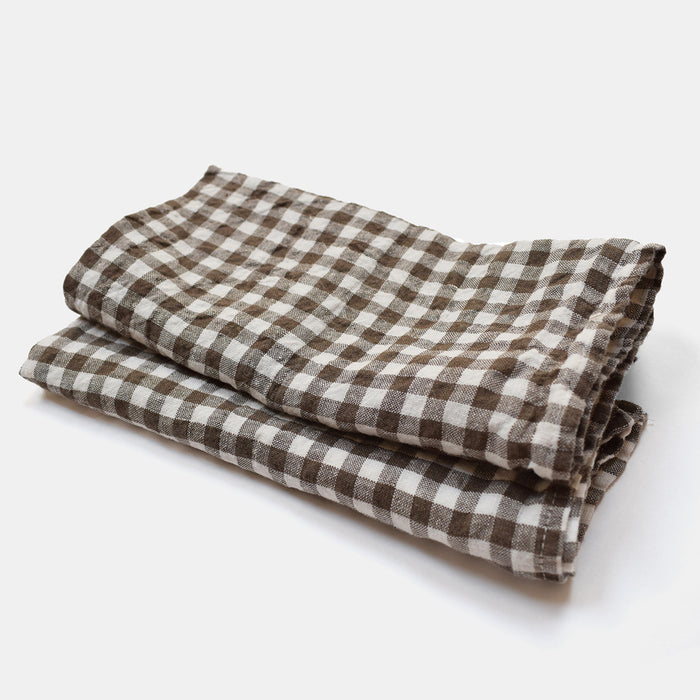 Linen Napkin, brown gingham