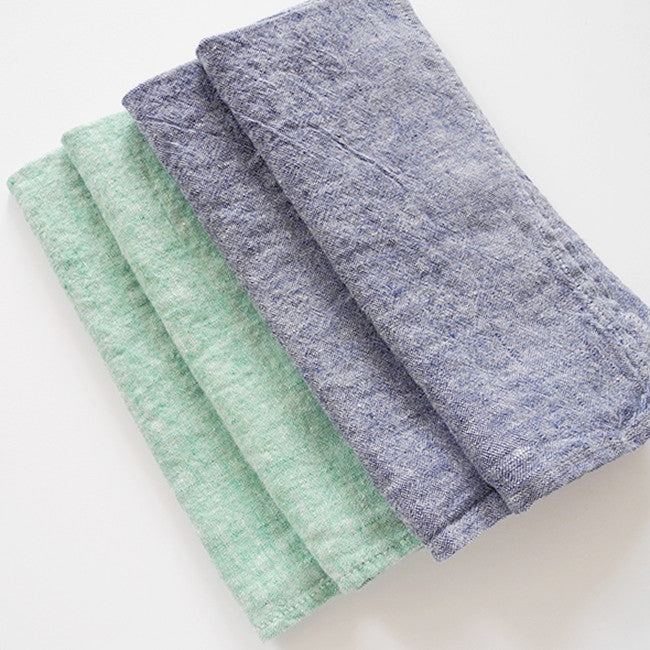 Linen Napkin, green chambray