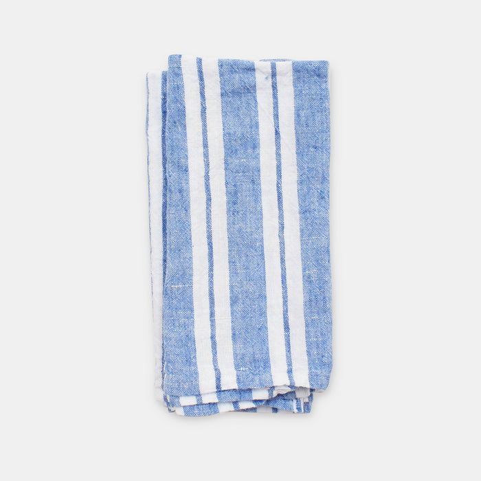 Linen Napkin, large blue stripes