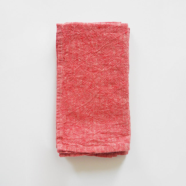 Linen Napkin, red chambray