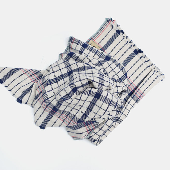 Navy Ink Blue Plaid Stripe Cotton Throw by Moismont at Collyer's Mansion