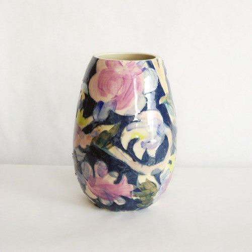Carved Floral Vase, navy