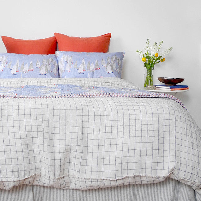 Linen Duvet, navy check