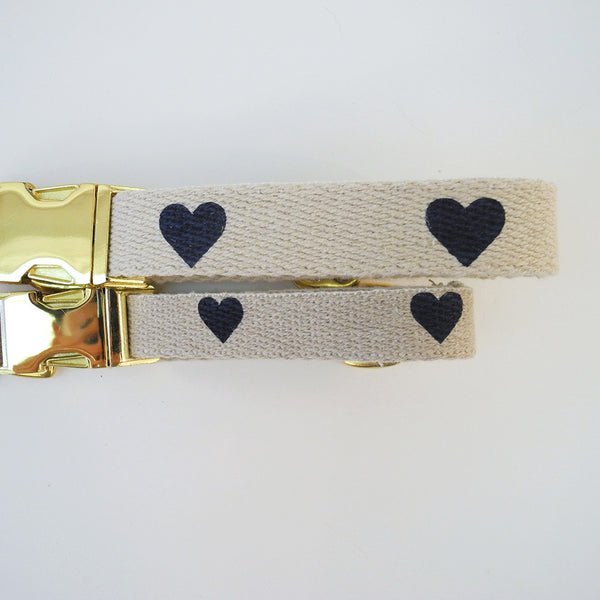 Navy Heart Dog Collar