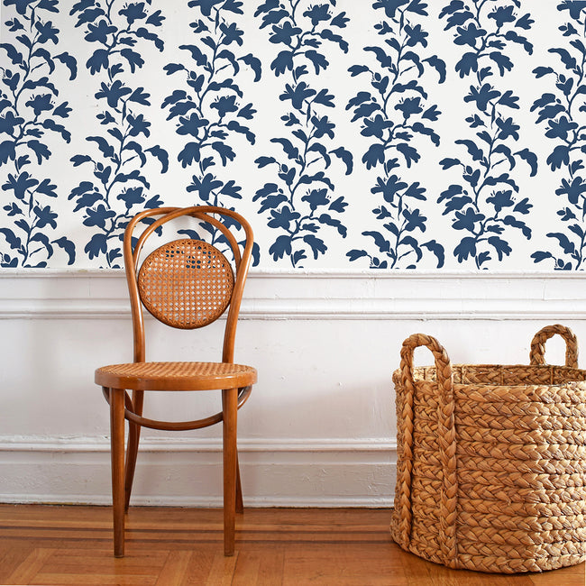 Navy and white vine wallpaper in removable wallpaper and traditional wallpaper with blue plants and midnight stems