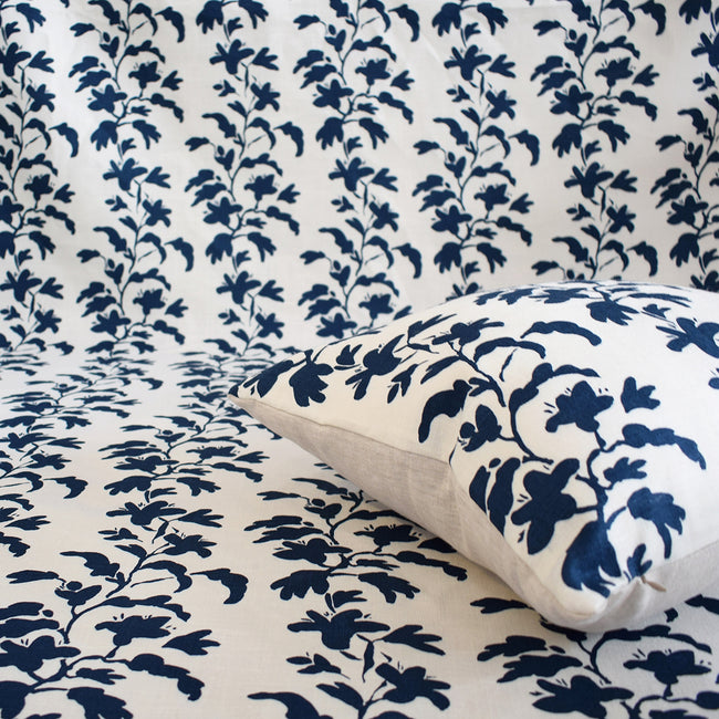 Navy Vine Pillow, square