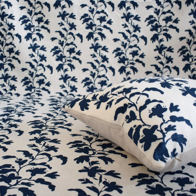 Navy Vine Linen Fabric by the Yard