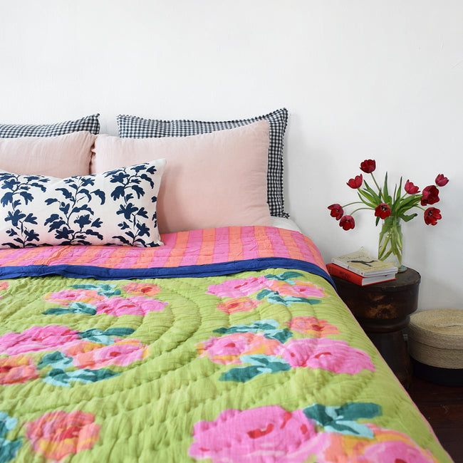 Linge Particulier Nude Standard Linen Pillowcase Sham with Lisa Corti quilt for a colorful linen bedding look in soft blush pink - Collyer's Mansion