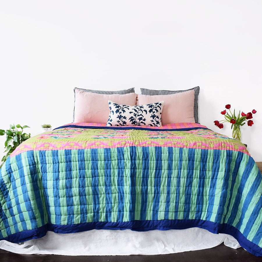 Nizam Acid Green Quilt, queen/king