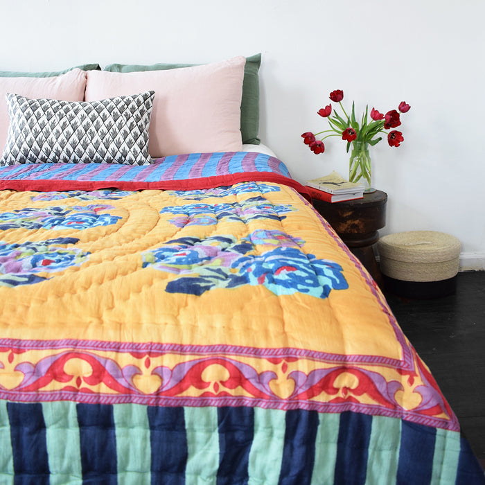 Nizam Mustard Quilt, full/queen